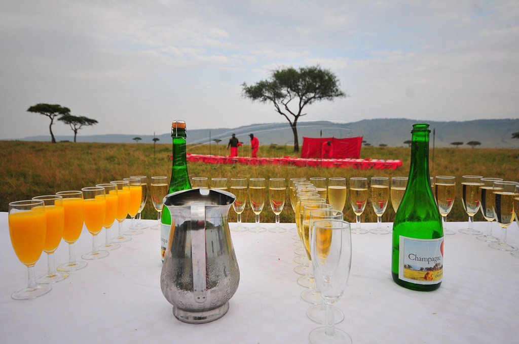 Champagne breakfast on the plains of Maasai Mara