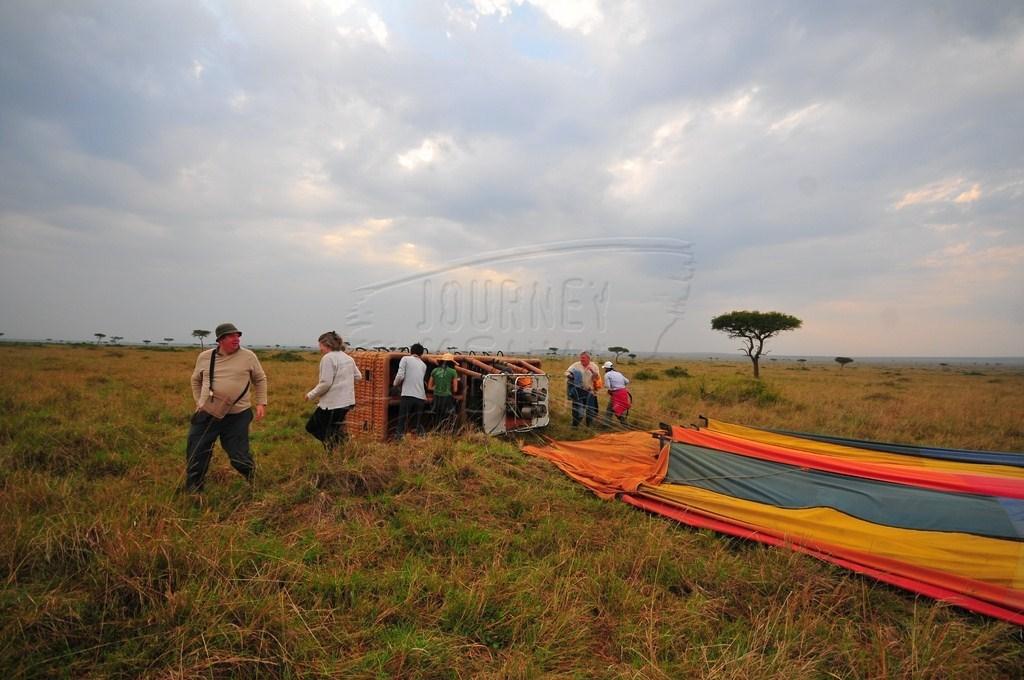 Tourists preparing for a hot air balloon safari
