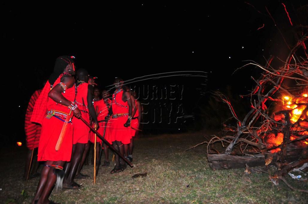 Maasai morans entertaining guests at Mara Sopa Lodge