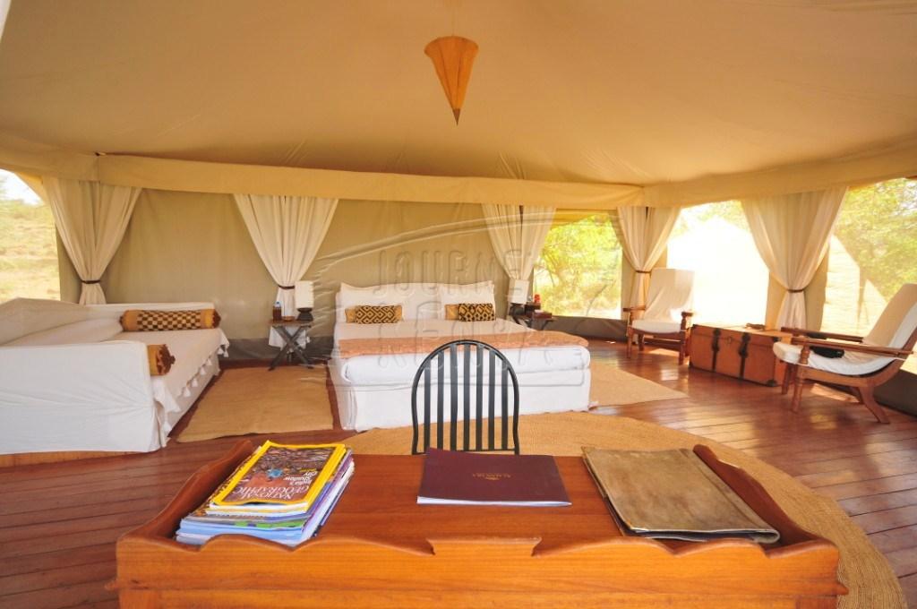 Inside a luxury tent at Ol Seki Hemingways in Maasai Mara
