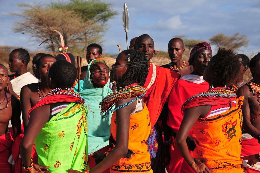 A traditional dance troupe in Samburu