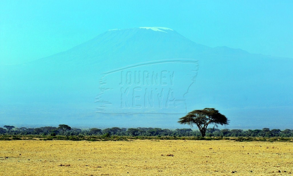 The peak of Mount Kilimanjaro visible from Amboseli National Park