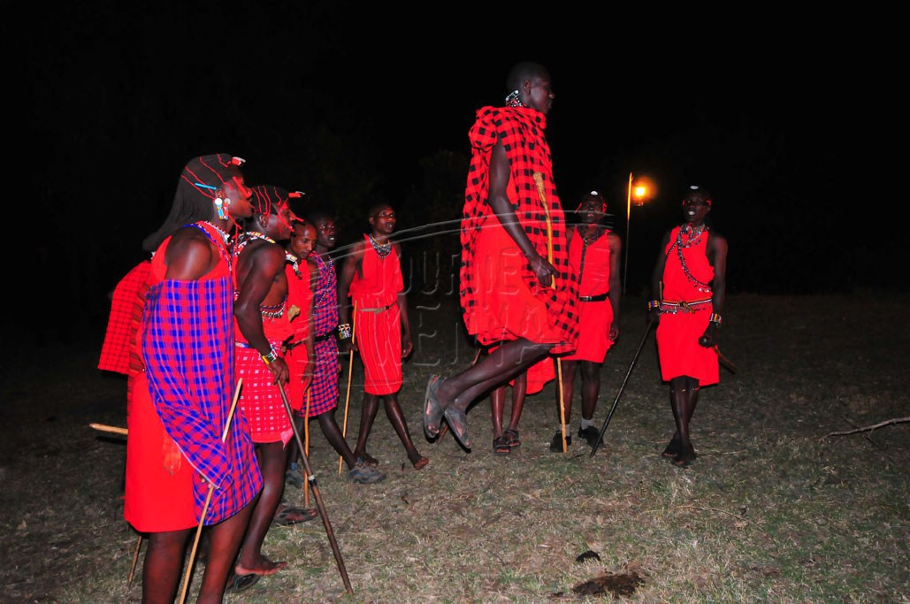 Maasai dancers entertaining guests at Mara Sopa Lodge