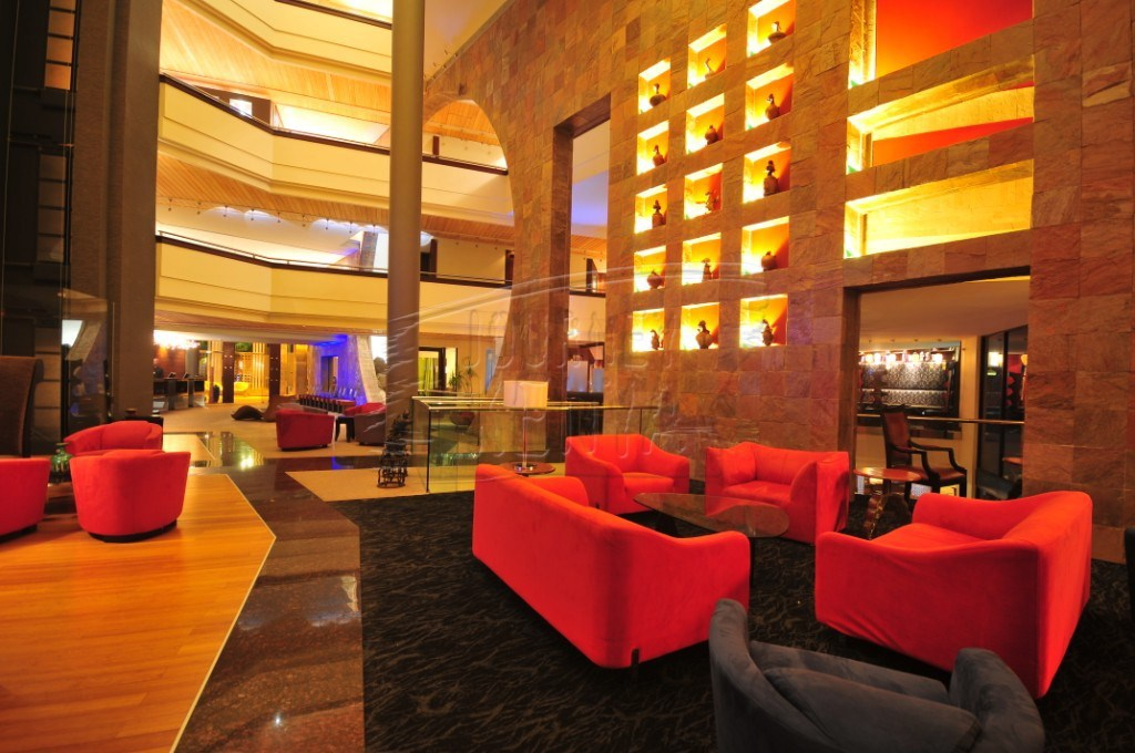 An elegant lounge at the Tribe Hotel in Nairobi