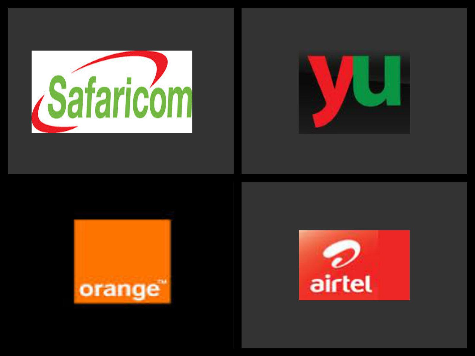 Logos of mobile service providers in Kenya