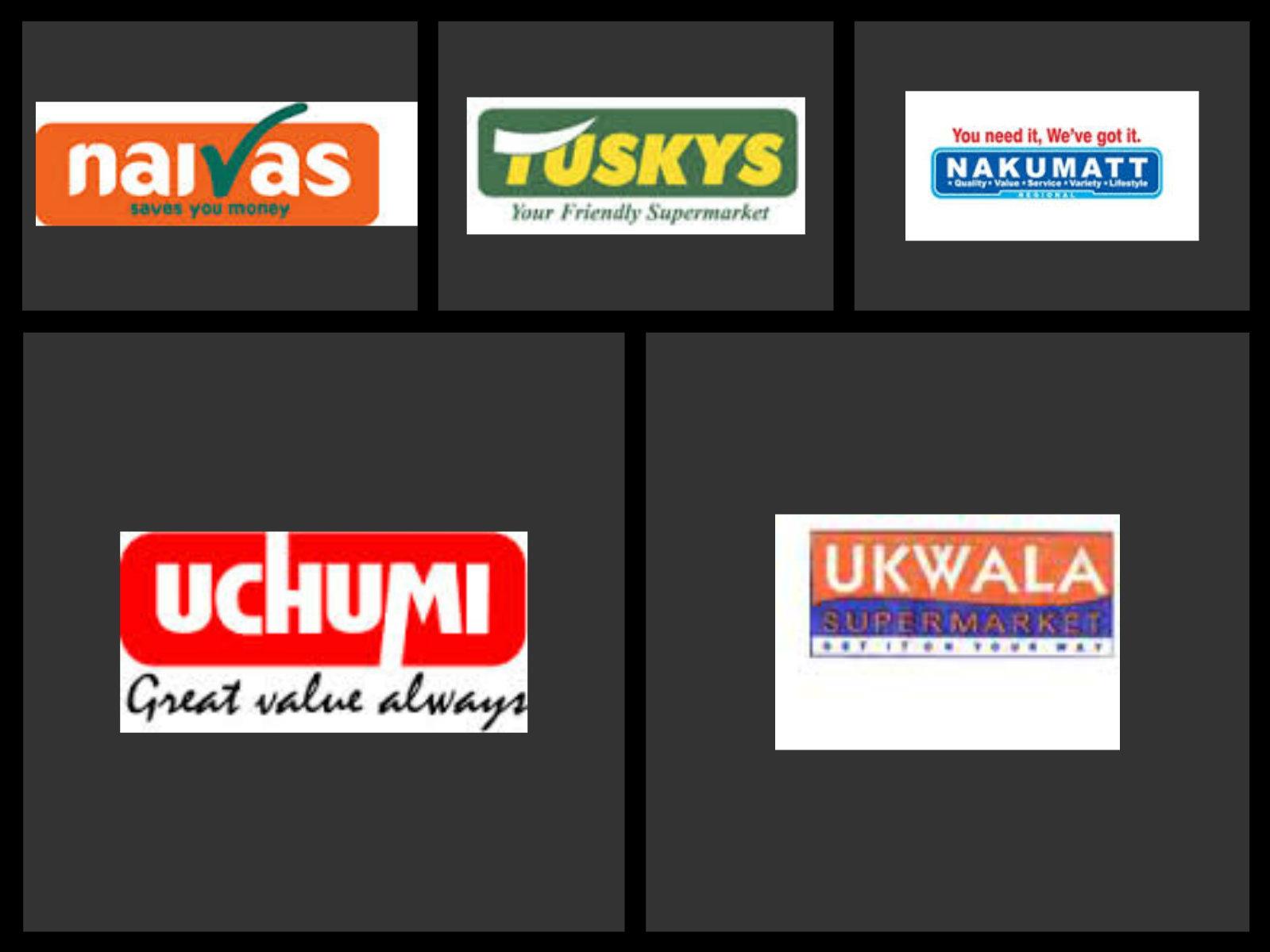 The logos of major supermarkets in Kenya