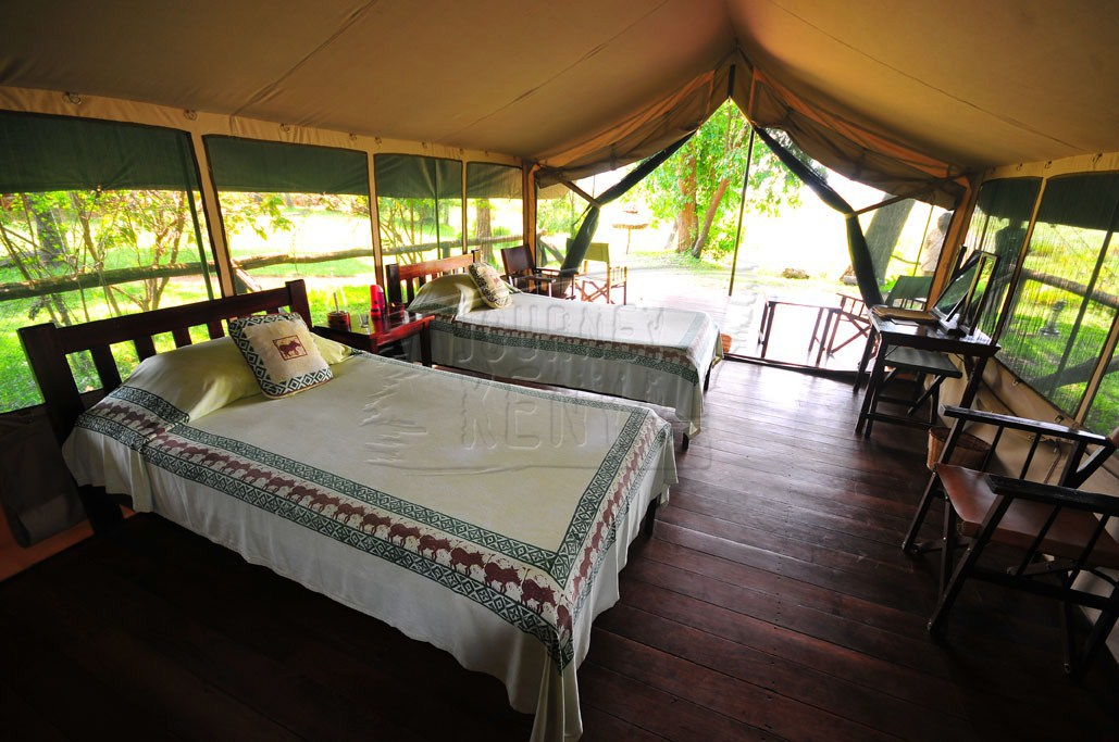 A luxury tent at Little Governors' Camp, which is one of the two camps within the Mara Triangle.