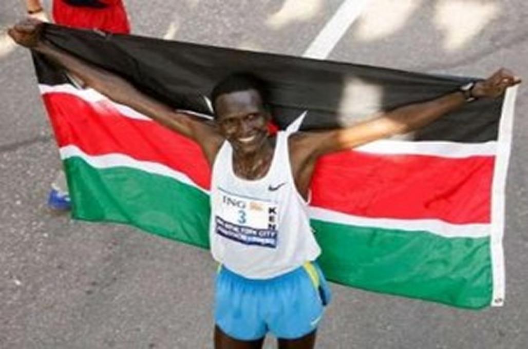 Paul Tergat celebrates winning the New York Marathon. Photo Credit: www.jamhuriwear.com