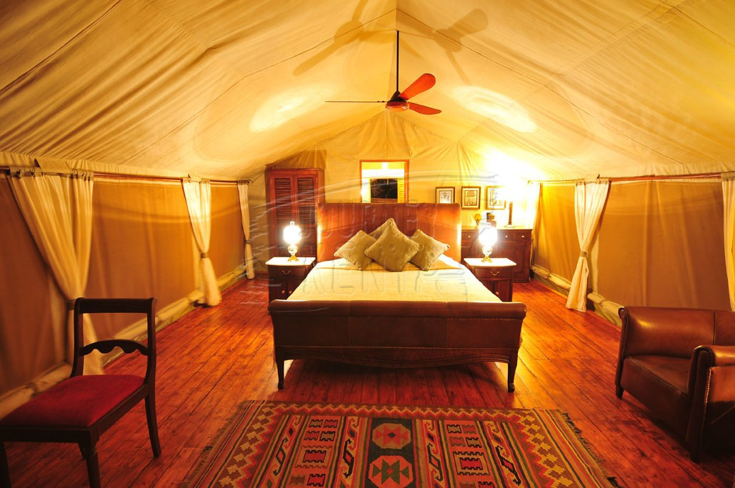 A luxury tent at Finch Hattons Tented Camp, which was named the leading safari lodge in Africa.